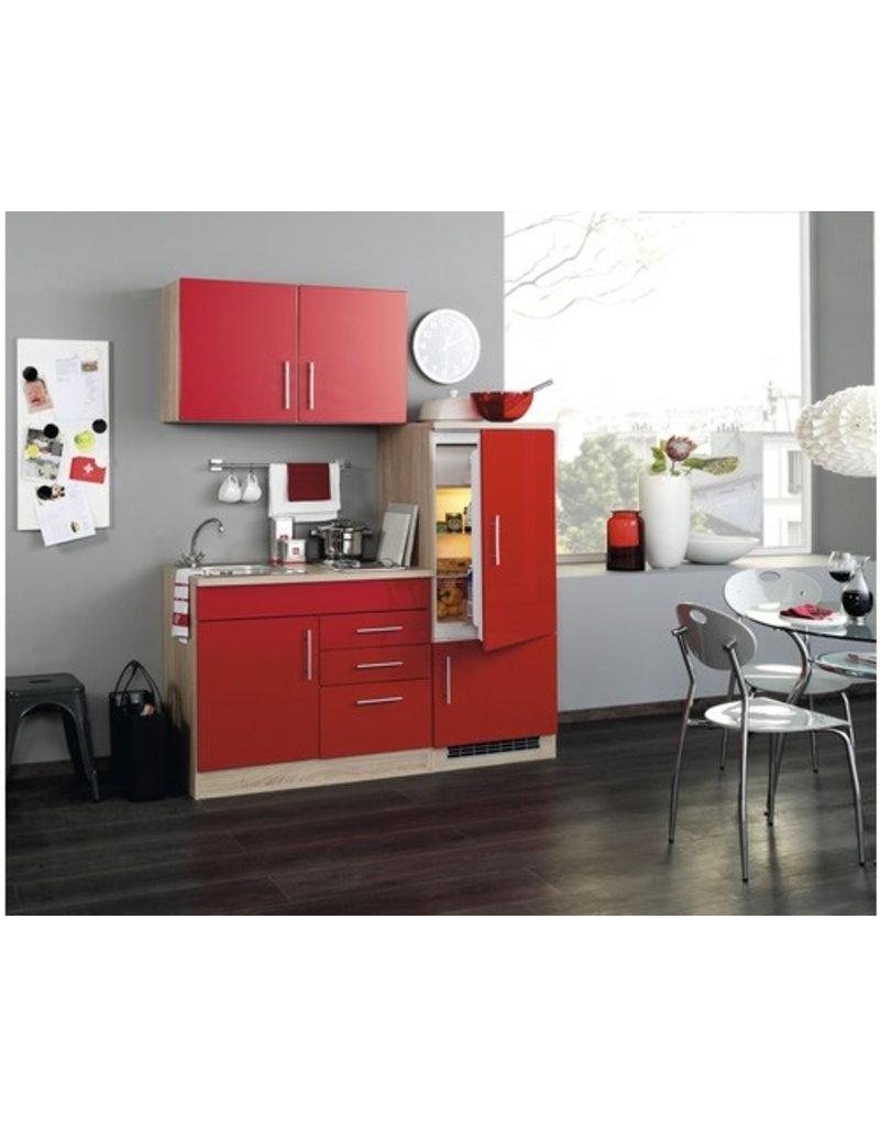 Kitchenette incl e-Kookplaat + koelkast met vriezer + Apothekerskast  210 cm lang KIT-849