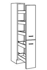 Apothekerskast wit hoogglans  met 5 laden 211 cm hoog KIT-996
