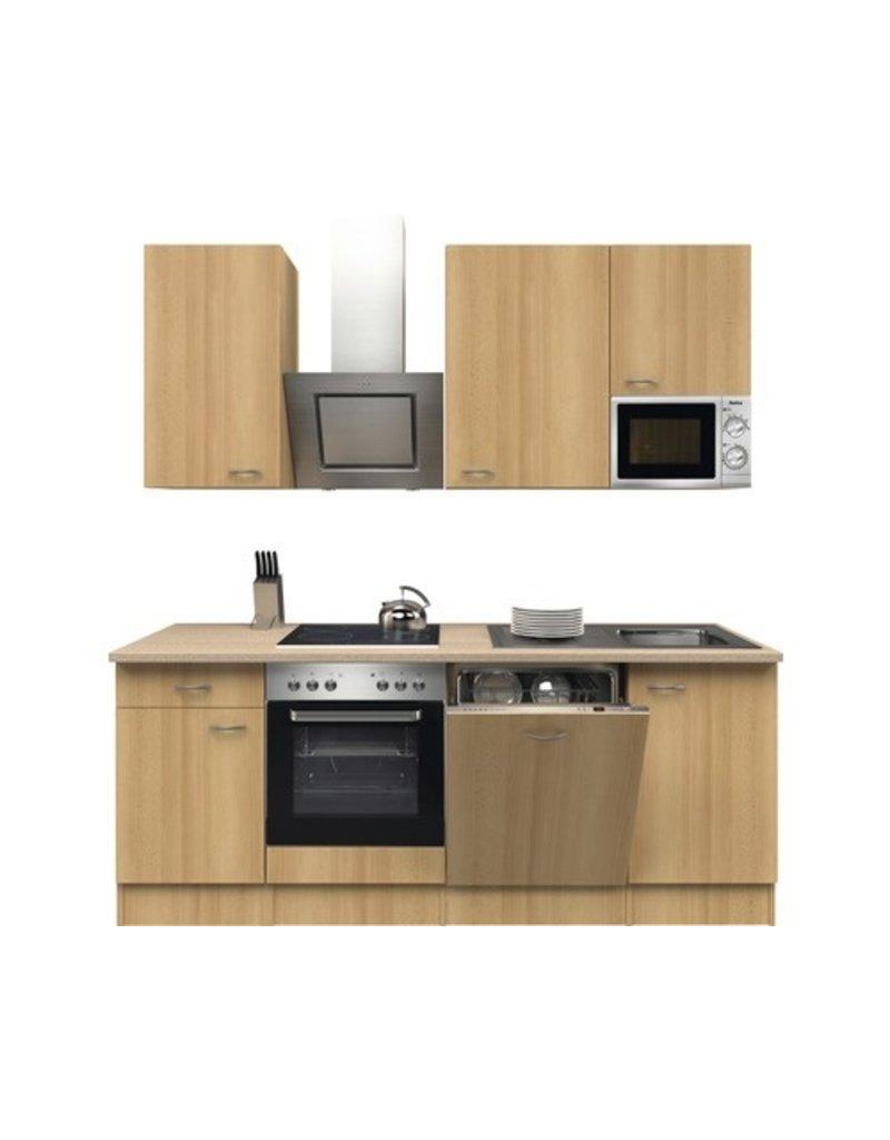 Kitchenette Nano beuk afwerking 220 cm incl. Ingebouwde apparaten KIT-21149