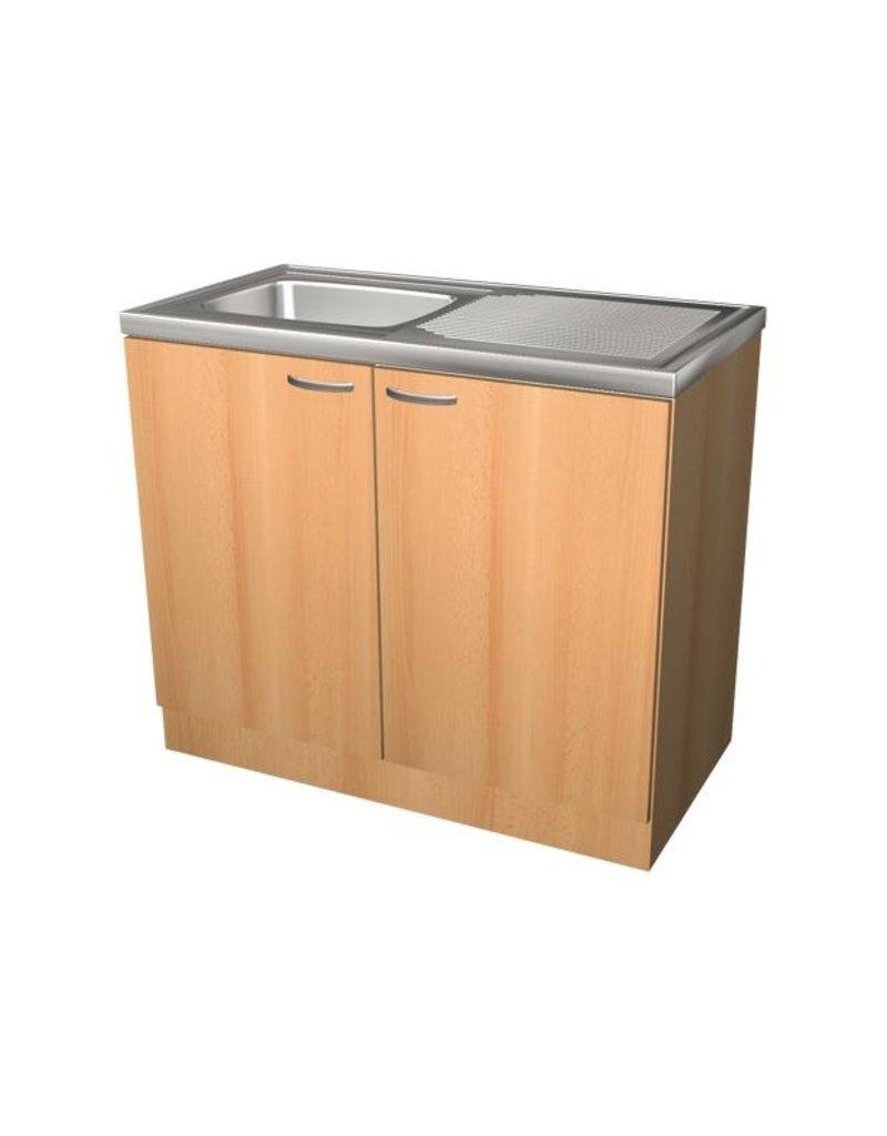 Keukenblok Beuken met RVS aanrecht 100cm x 50cm SPL100-6-KIT-68