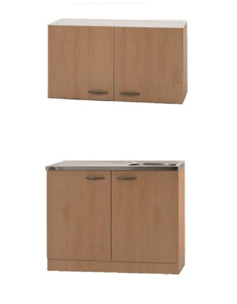 keukenblok met spoelbak en bovenkast Beuken 50cm x 100cm KIT-4103