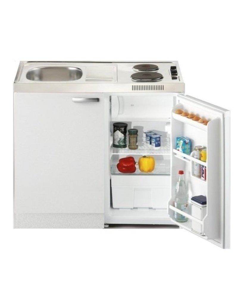 Keukenblok Lagos 100cm met koelkast en 2-pit kookplaat KIT-2666