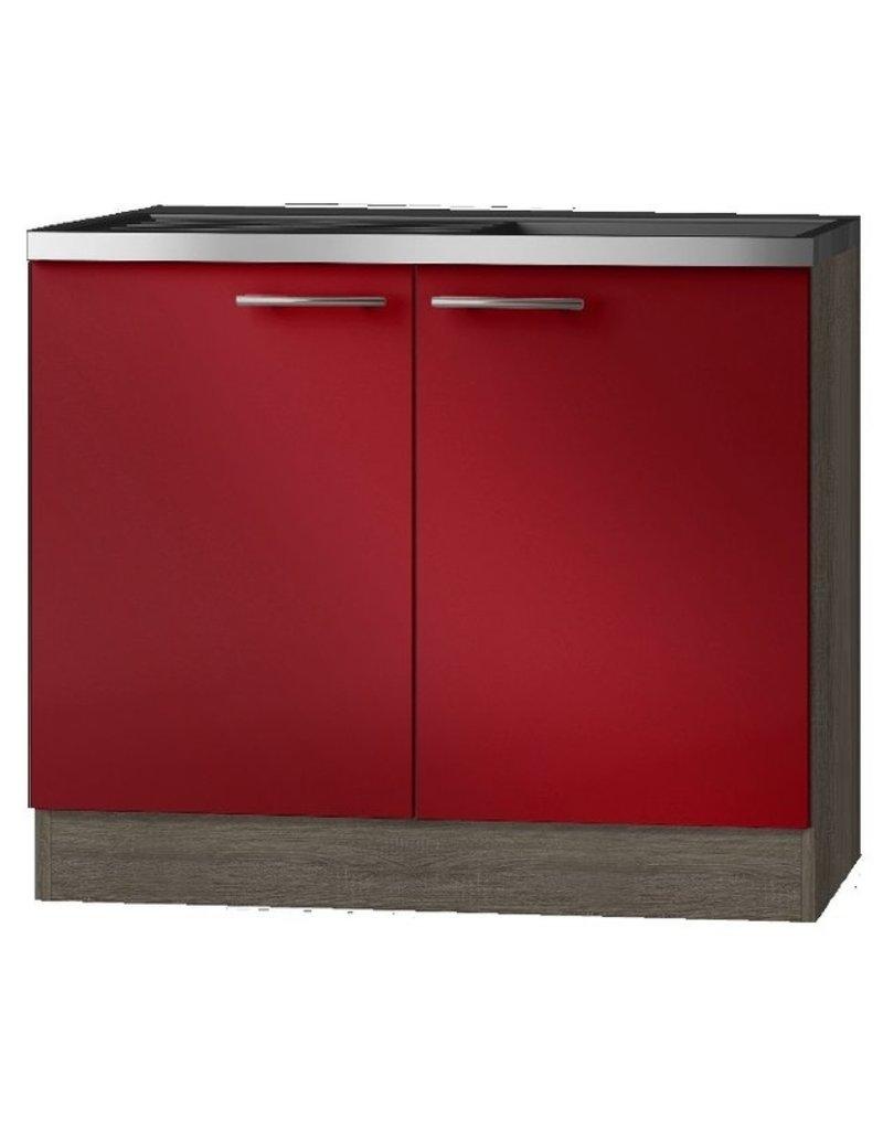 Keukenblok Imola rood 100 x 60 cm KIT-3103