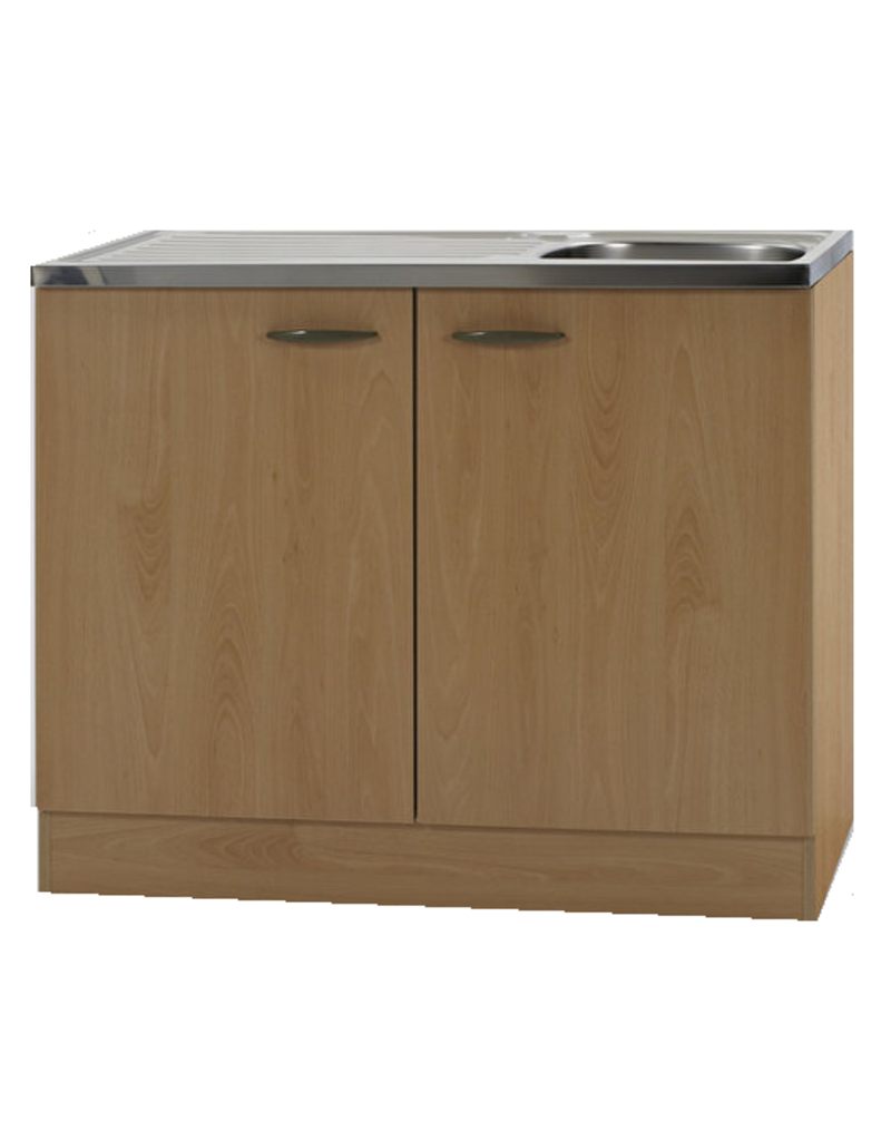 Keukenblok Beuken met RVS aanrecht 100cm x 60cm KIT-68