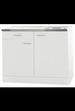Keukenblok Klassiek 60 Wit met een la, RVS aanrecht 100 cm x 60 cm SPLSO106-6-42
