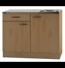 Keukenblok Klassiek Beuken 60 met een la, RVS aanrecht 100cm x 60cm KIT-99