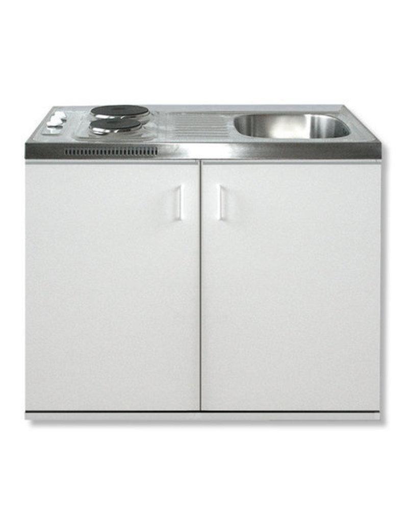Minikeuken Wit 100x60 + RVS aanrechtblad en e-kookplaat KIT-199