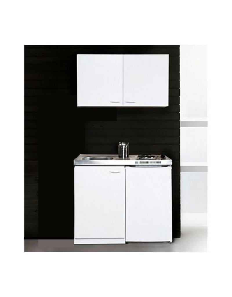 Keukenblok 100cm x 60cm + E-kookplaat + koelkast en bovenkasten KIT-9429