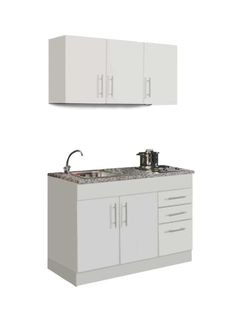 Mini Keuken Toronto Wit 120 cm x 60 cm  incl. e-kookplaat KIT-4399