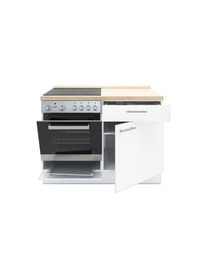 Minikeuken 120 cm x 60 cm incl. oven + kookplaat + bergruimte zonder spoelbak KIT-1599
