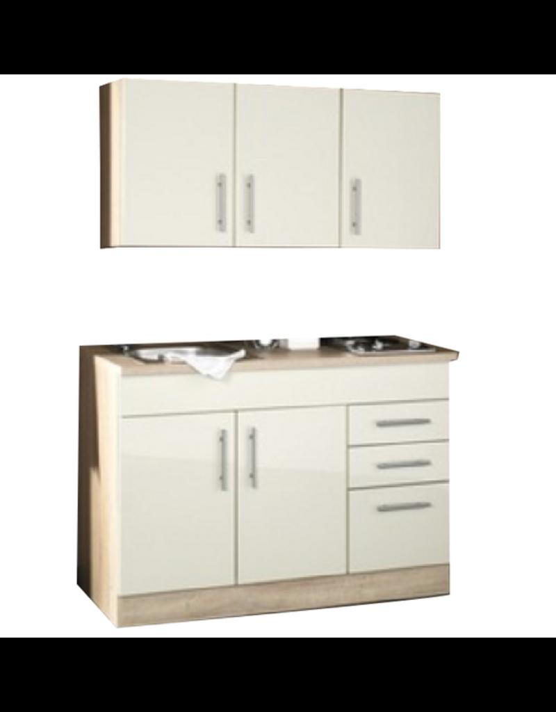 Mini Keuken 120 Cm X 60 Cm Incl Rvs Spoelbak Electrische Kookplaat Bovenkasten