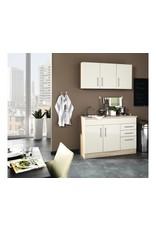 Mini keuken 120 cm x 60 cm incl. rvs spoelbak + electrische kookplaat + bovenkasten