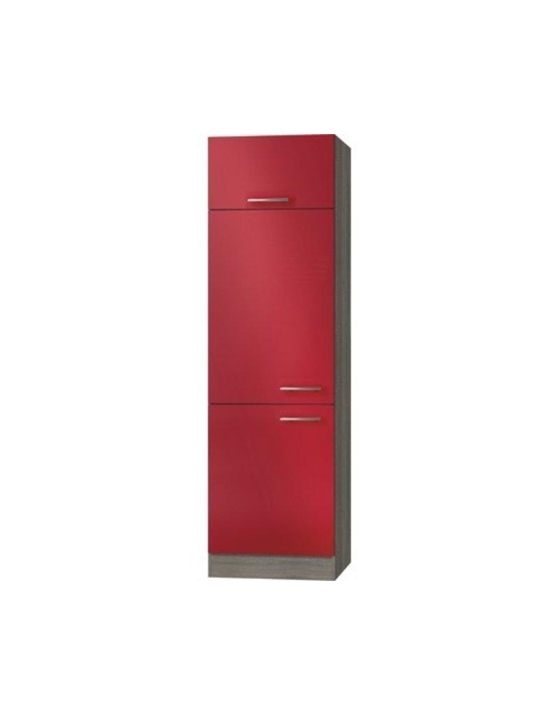 Omgezette kast Imola signaal rood satijn (BxHxD) 60,0x206,8x57,1 cm KIT-2209