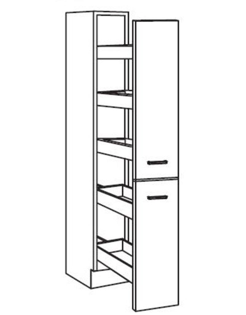 Apothekerskast Neapel met 5 laden 211 cm hoog  KIT-795