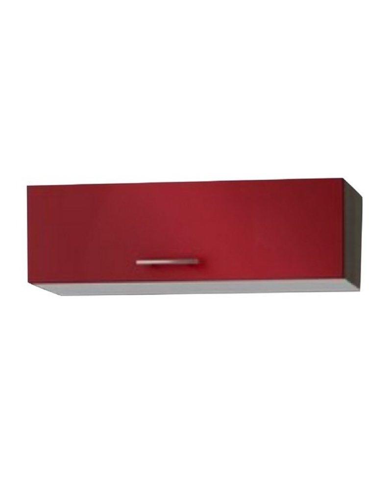Wandkast met klepdeuren rood (BxHxD) 100x34x34 cm KIT-52