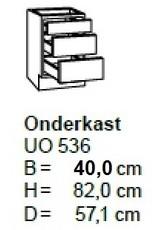 Onderkast 40cm met 2 uittreklades + 1 lade UO436-9