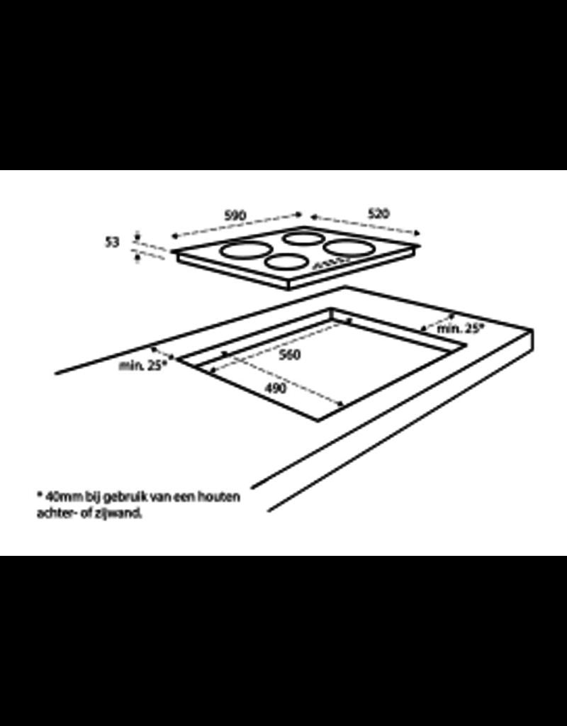 Inbouw 4-pit kramische kookplaat
