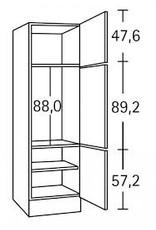Hogekast 206,8cm voor inbouw koelkast 88cm hoog