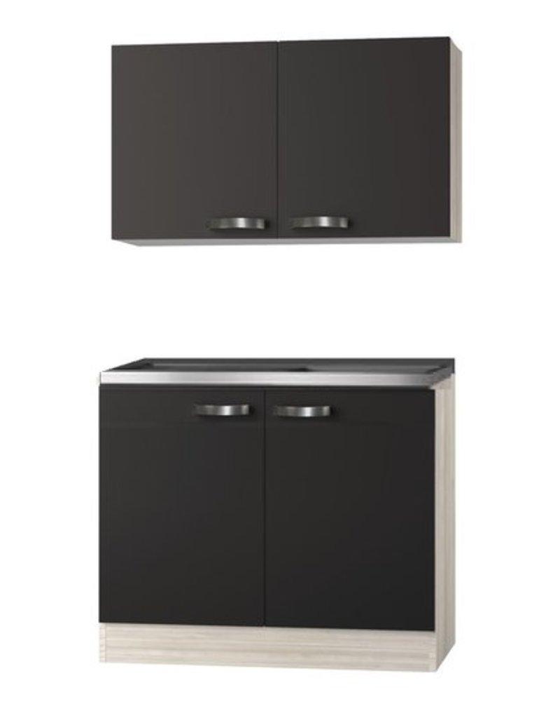 Keukenblok Faro Antraciet  100cm met bovenkast KIT-0103