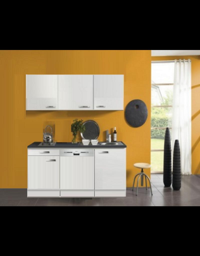 kitchenette 160cm wit hoogglans incl vatwasser en e-kookplaat