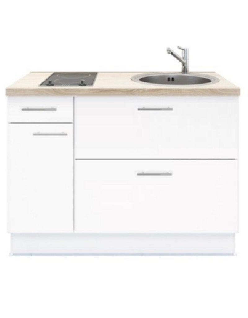 Keukenblok 120 wit met Elektrische kookplaat en rvs spoelbak KIT-3591