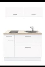 Keukenblok 120 Wit met Elektrische Kookplaat ,RVS spoelbak en klap bovenkasten 60cm KIT-360