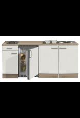 Keukenblok 190cm gebroken wit-eiken incl 2-pit kookplaat KIT-558