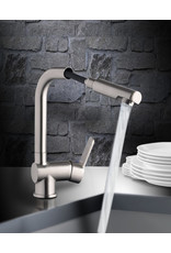 Lage druk keukenkraan LONDON ééngreepsmengkraan keuken, met uittrekbare sproeier, RVS-look KIT-336