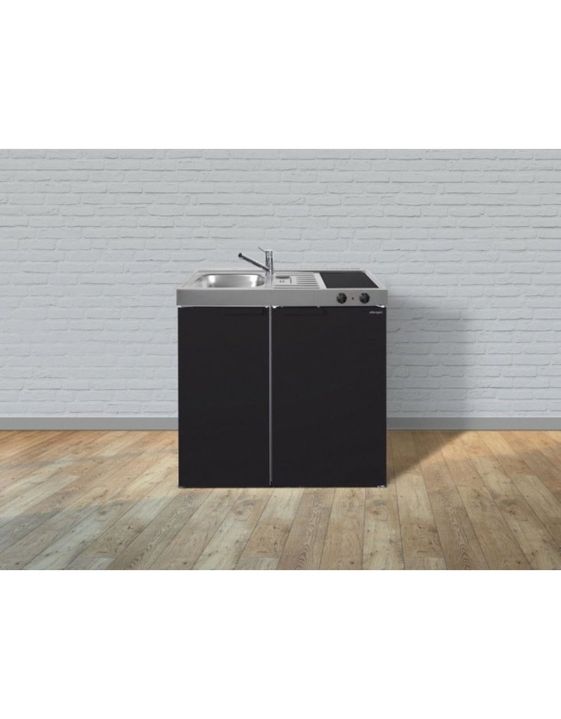 MK 90 Zwart mat met koelkast  KIT-9515