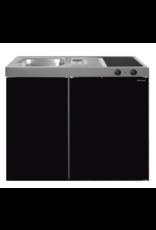 MK 90 Zwart Metalic mat met koelkast  KIT-9516