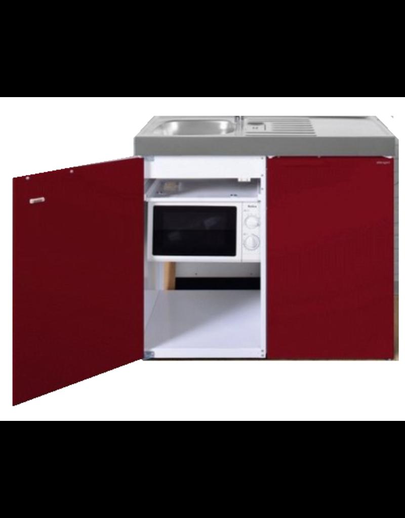 MKM 100 Bordeauxrood met koelkast en losse magnetron KIT-9573