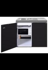 MKM 100 Zwart mat met koelkast en losse magnetron KIT-9575