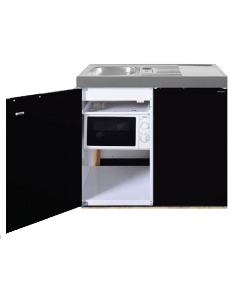MKM 100 Zwart metalic met koelkast en losse magnetron KIT-9576