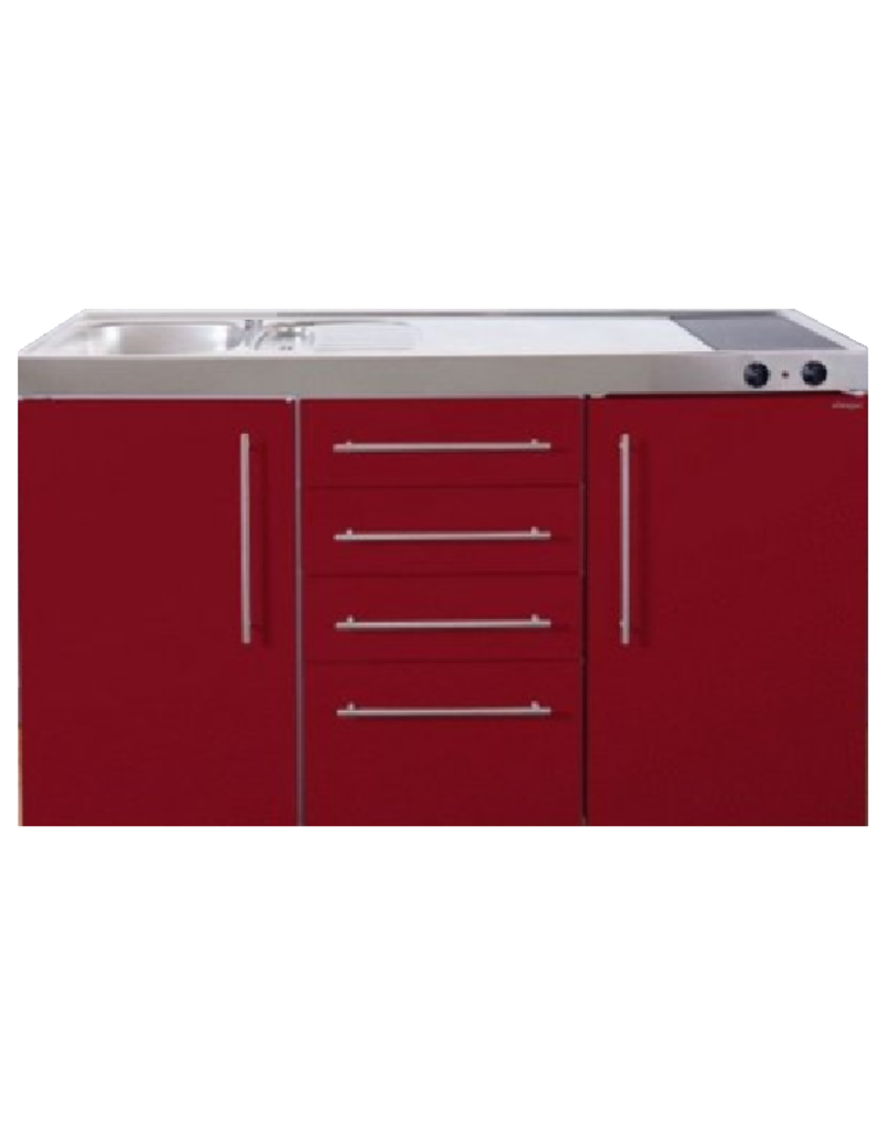 MPS4 150 Bordeauxrood met koelkast en 4 ladekasten KIT-9532