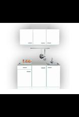 Keukenblok 150cm wit klassik met rvs spoelbak KIT-0099
