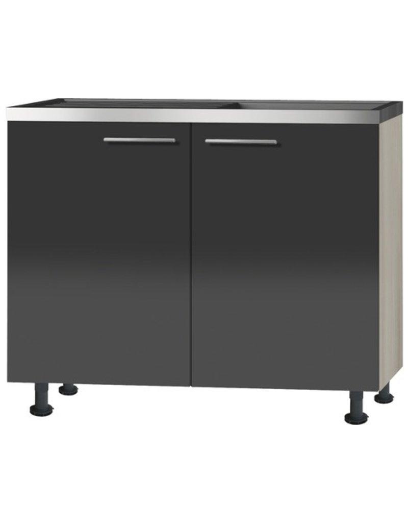 Keukenblok Antraciet hoogglns (BxHxT) 100,0x87,0x58,4 cm KIT-039