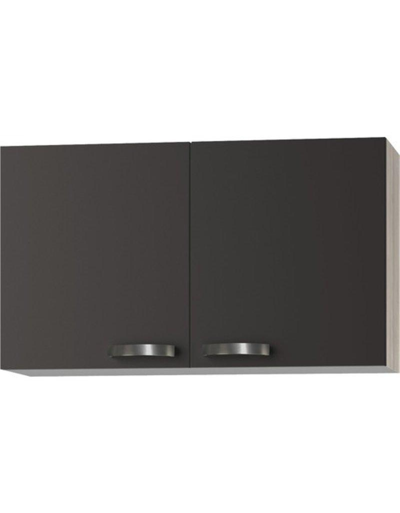 Keukenblok Faro Antraciet 100cm met rvs werkblad incl spoelbak KIT-020