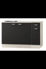 keukenblok Antraciet 130 cm incl spoelbak KIT-04837