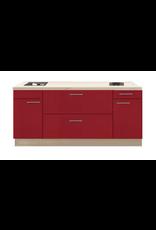 Kitchenette 200cm Rood Hoogglans met een ladenkast KIT-1129
