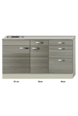 Keukenblok 120cm vigo grijz-rood KIT-4392