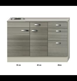 Keukenblok 130cm vigo grijz-rood KIT-4392