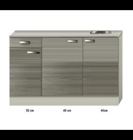 Keukenblok 130cm vigo grijz-rood KIT-43132
