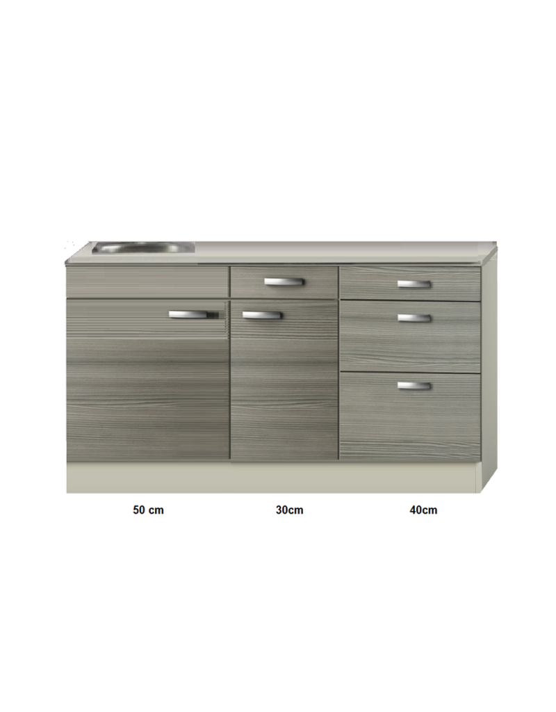 Keukenblok 120cm vigo grijz-rood met wandkasten KIT-43922