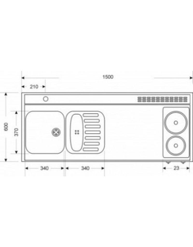 MKM 150 Zwart metalic met  losse magnetron en koelkast KIT-339