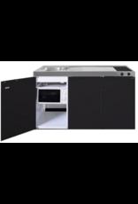 MKM 150 Zwart mat met  losse magnetron en koelkast KIT-330