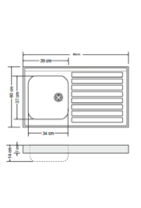 RVS aanrechtblad opleg 80cm x 60cm KIT-384