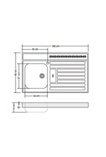 RVS aanrechtblad opleg 100cm x 60cm KIT-385