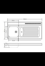 RVS aanrechtblad opleg 120cm x 60cm KIT-386