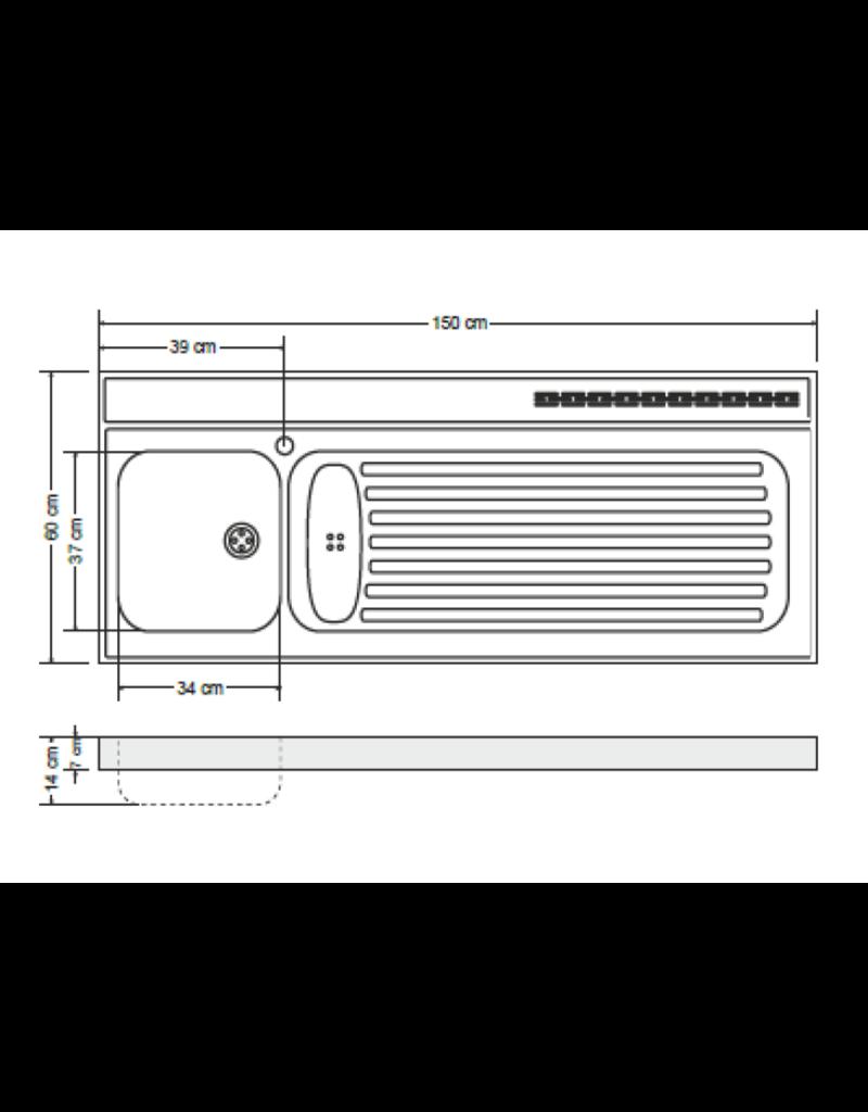 RVS aanrechtblad opleg 150cm x 60cm KIT-387