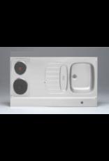 RVS aanrechtblad opleg 90cm x 60cm met 2-pit elektrische kookplaat KIT-284